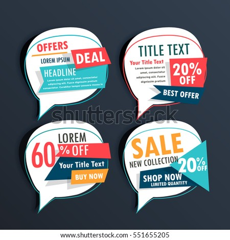 pack of sale stickers in speech bubble style