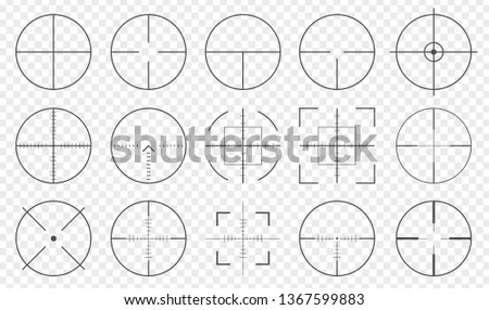 Pack of sniper rifle aims isolated. Crosshairs target choose destination icons. Aim shoot focus cursor. Bullseye mark targeting. Game aiming sight dot pointer set. Vector illustration