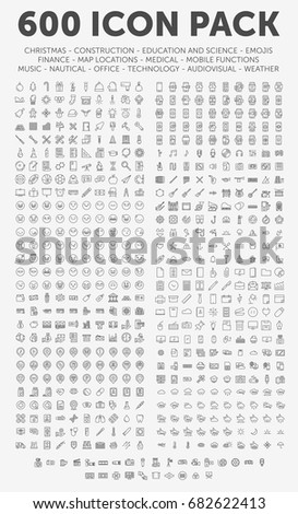 Pack of 600 thin line icons