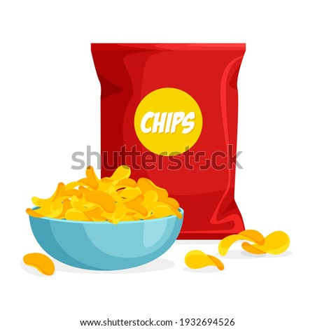 Package and plate of chips in trendy cartoon style. Pile of crisps in a bowl. Packaging template. Vector illustration isolated on white background. Foto stock ©