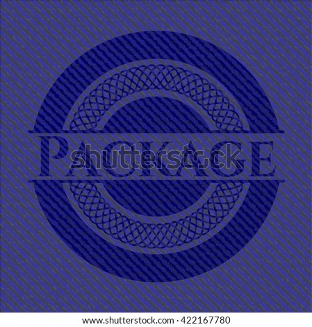Package badge with denim texture