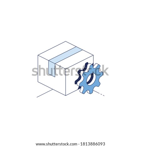 Package box packing cog gear. Vector 3d line isometric, color web icons set, new flat style. Creative illustration, idea for infographics.