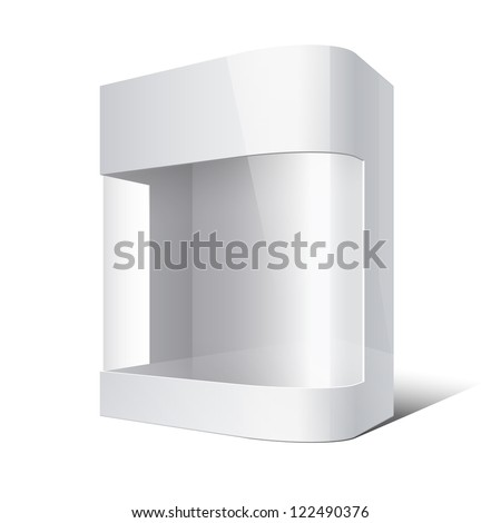 Package Box with rounded corner and transparent plastic window. Vector illustration
