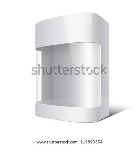 Package Box with rounded corners and transparent plastic window. Vector illustration