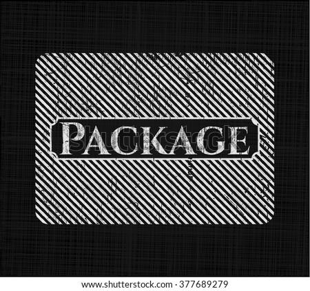 Package chalk emblem, retro style, chalk or chalkboard texture
