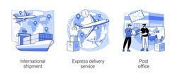 Package delivery abstract concept vector illustration set. International shipment, express delivery service, post office, parcel tracking, e-commerce online order, courier service abstract metaphor.