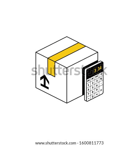 Package delivery calculator. Vector line, 3d stroke isometric, color web icon, new flat style. Creative illustration design, abstract idea for infographics. Stock foto ©