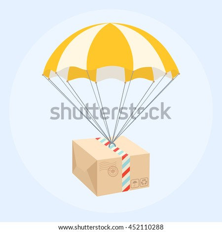 package flying on parachute....
