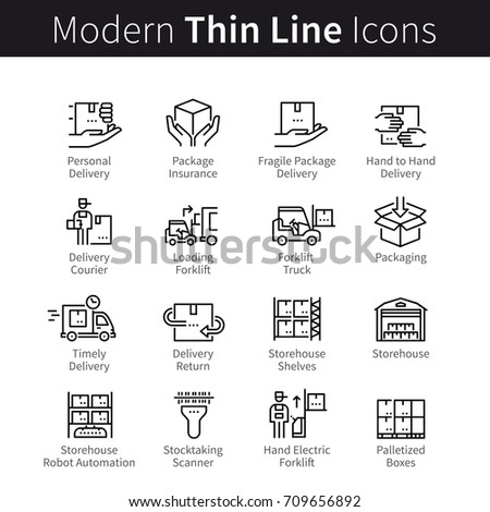 Package logistic management pictogram. Packaging, processing, storage in a warehouse, delivery service, return. Modern thin line art icons. Linear style illustrations isolated on white background.