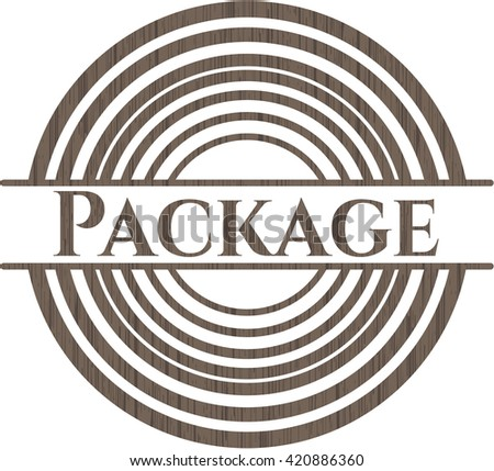 Package realistic wood emblem