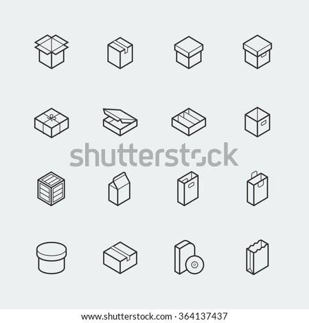 Package related vector icon set in thin line style