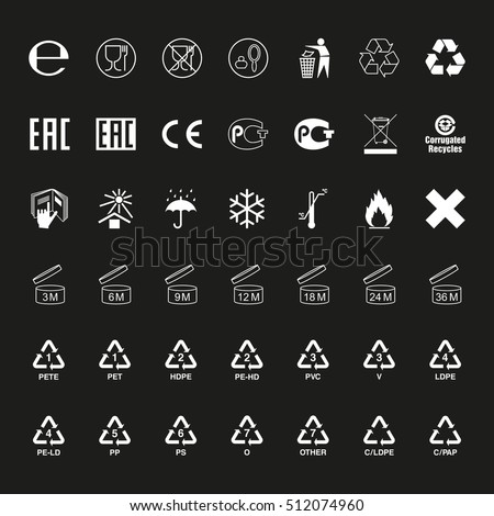 Package symbols set, vector
