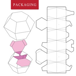 Package template.Vector Illustration of handle box.