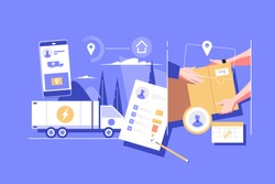 Package unloading and delivery vector illustration. Big lorry track shipping important cargo and cardboard boxes to internet users buying products and commodities on internet. Online shopping