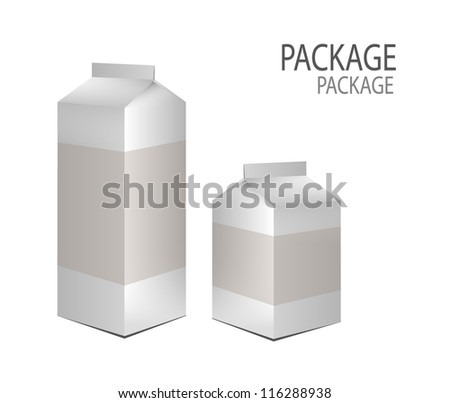 Package white milk box design 2, vector illustration