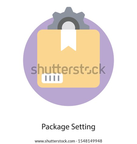 Package with gear,  package settings icon in flat design