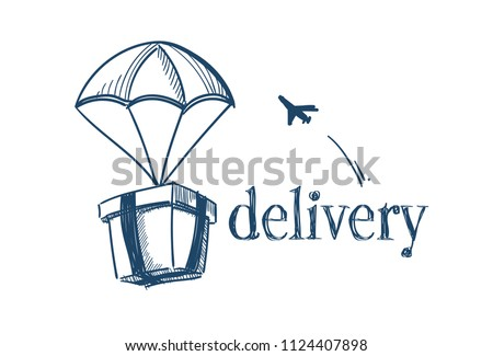 package with parachute fast delivery service concept free air shipping flying plane on white background sketch doodle vector illustration