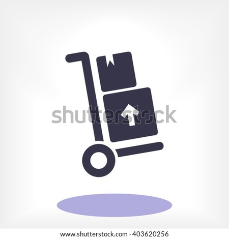 Packages delivery trolley vector icon
