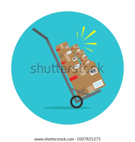 Packages delivery with trolley. Vector icon
