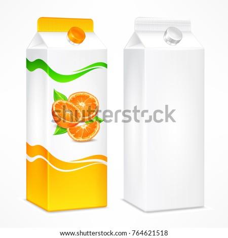 Packages for juice, cardboard pack with orange juice and beverage blank, vector illustration