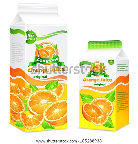 Packages for juice, paper packing with oranges and leaves & text, vector illustration