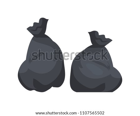 Packages with garbage vector illustration of big black plastic bags with wastes isolated on white background. Packs full of rubbish, packets and litter