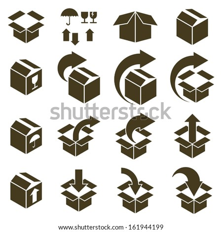 Packaging boxes icons isolated on white background vector set, pack simplistic symbols vector collections.