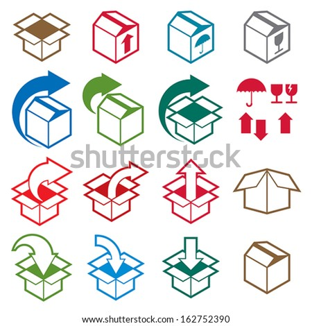 Packaging boxes icons isolated on white background vector set pack simplistic symbols vector collections