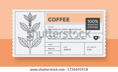 Packaging design for coffee. Vector vintage product label template. Retro package with Coffee branch.
