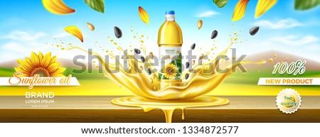 Packaging design of sunflower oil. Splash effect. Summer landscape. Wooden table. Realistic vector illustration