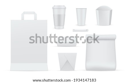 Packaging for food, drinks empty realistic mockups set. Paper cup, carton box, container, shopping bag blank templates. Side view. Copy space, Ready for your design. Vector collection on white. stock photo