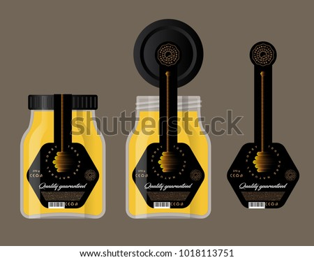 Packaging for honey. Honey logo. Honey dipper icon. Glass jar and lid with a label.