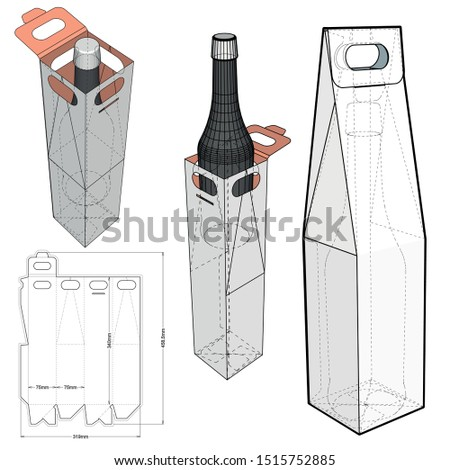 Packaging for two bottles of wine and Die-cut Pattern