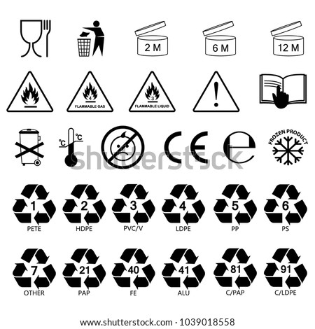 packaging information label icons, packaging label symbols, labels. no fill color, black outline