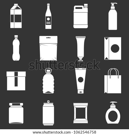 Packaging items icons set vector white isolated on grey background