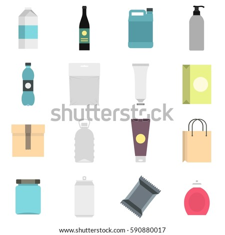 Packaging items set icons in flat style isolated on white background