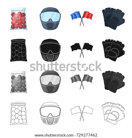Packaging, plastic, balls, and other web icon in cartoon style. Paintball, competitions, hobbies, icons in set collection.
