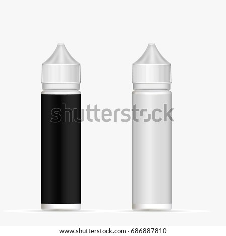 packaging plastic bottle vape with a white and black blank label