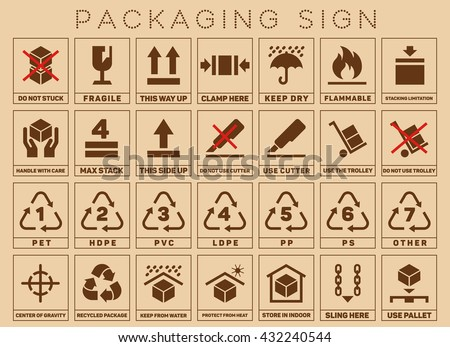 Royalty Free Set Of Packaging Symbols On Flat Style 388421503 Stock