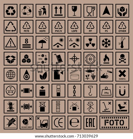 Packaging signs set, cargo icons, package symbols on cardboard