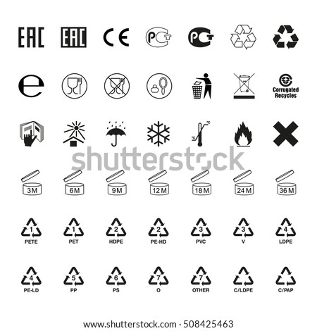 Packaging symbols set, vector