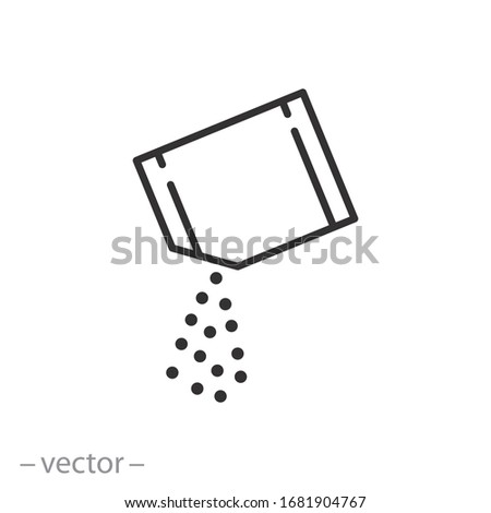 packet soluble powder icon, open paper sachet, soluble medication, thin line web symbol on white background - editable stroke vector illustration eps10