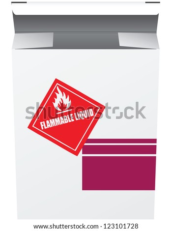Packing box of flammable chemicals. Vector illustration.