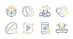 Packing boxes, Soy nut and Coffee beans line icons set. Seo phone, Parking and Bike rental signs. Medical pills, Wifi symbols. Delivery box, Vegetarian food. Business set. Vector