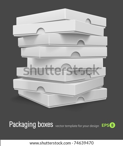 packing boxes with pizza vector illustration isolated on grey background