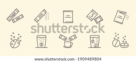 Packing line icons. Vector illustration included icon as sachet, sugar powder packet, soluble pill, effervescent pills. Set of outline vector icons