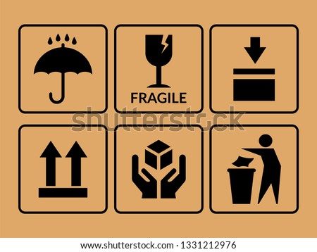 Packing symbol. Vector set of icons on cardboard, box. Production or packaging delivery Stock foto ©