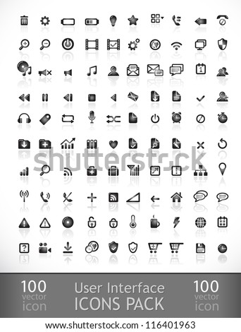 packs icons User interface for mobile devices and web applications.black and white