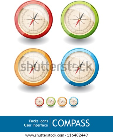 Packs icons user interface for mobile devices and web applications_COMPASS