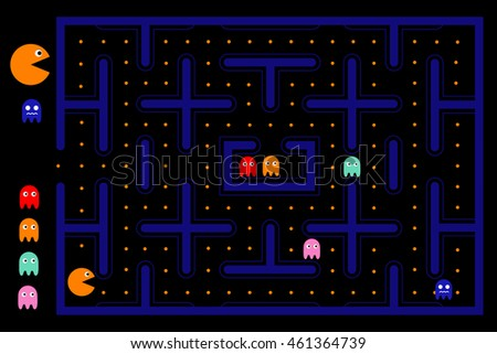 pacman game with ghosts  maze